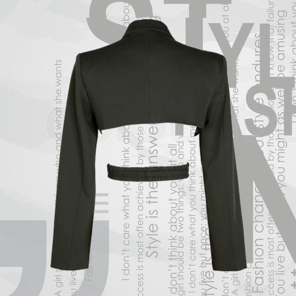 Black Asymmetric Cross Split Blazer 3
