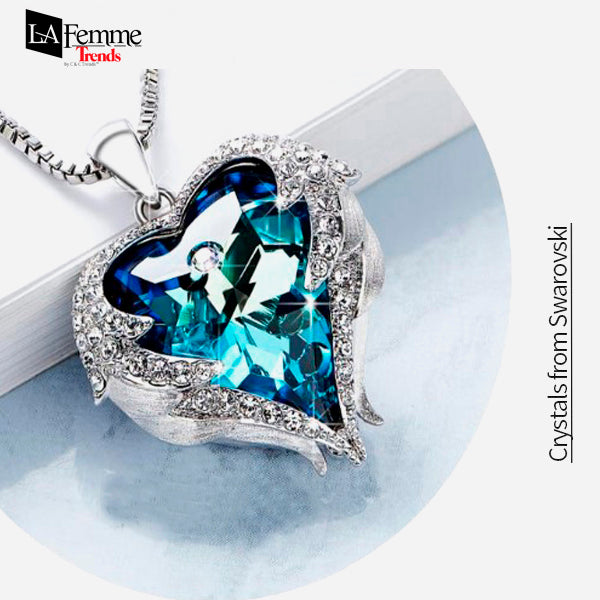Blue Heart of Ocean Swarovski Necklace 14a