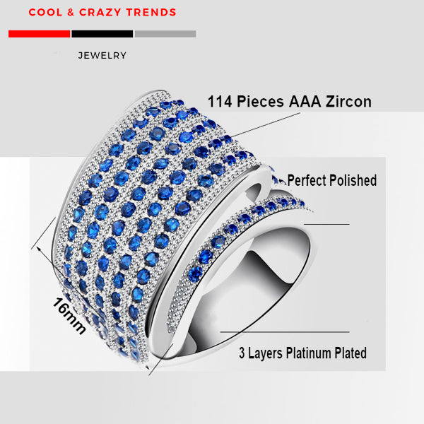 Blue Cubic Zircon Tornado Design Ring