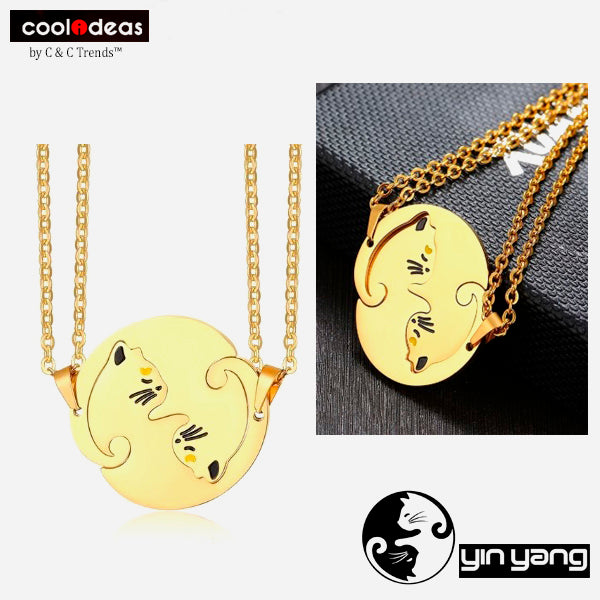 Cool Stainless steel Yin Yang Cat Necklace for Couples 1a