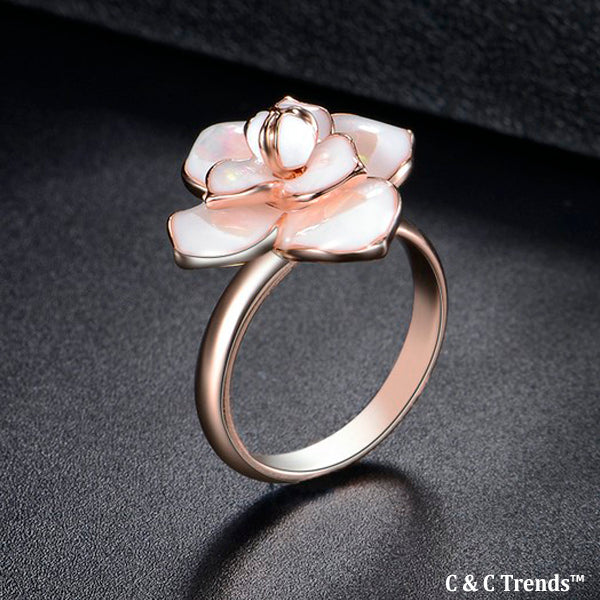 Cool Blooming Flower Marble Ring