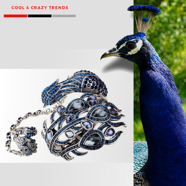 Cool Peacock Bracelet Attached Ring Set