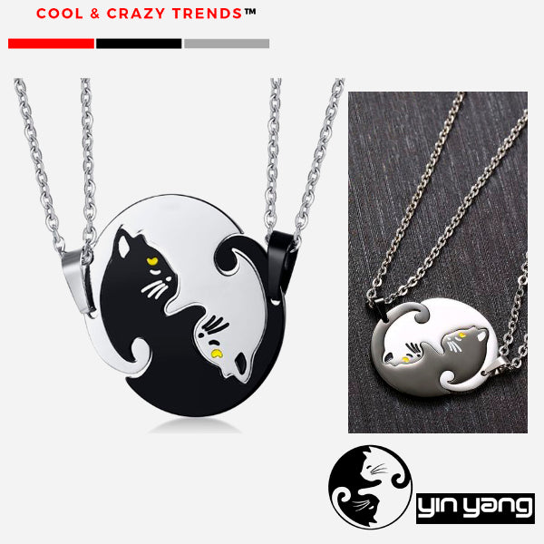 Cool Stainless steel Yin Yang Cat Necklace for Couples