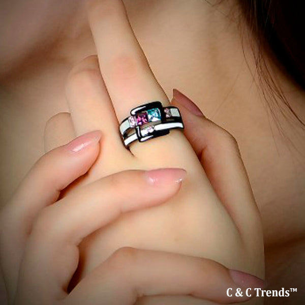 Cool Zircon Belt Design Ring