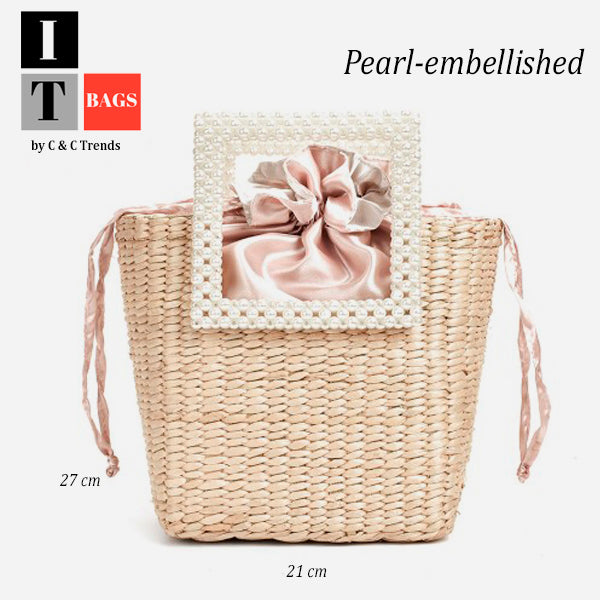 Cool Pearl-embellished Straw Handbag