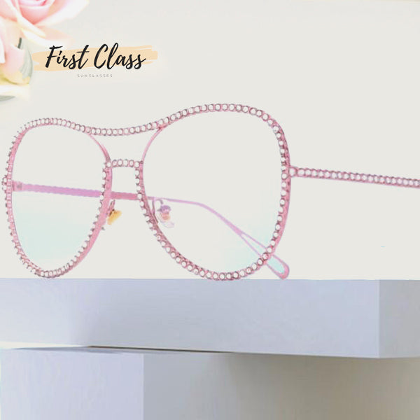 Copper and Rhinestones Frame Pilot Sunglasses