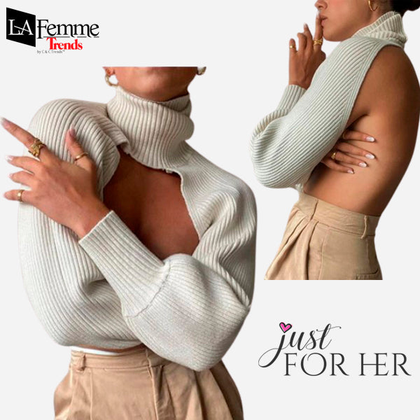 Cropped Turtleneck Lantern Sleeve Sweater 1