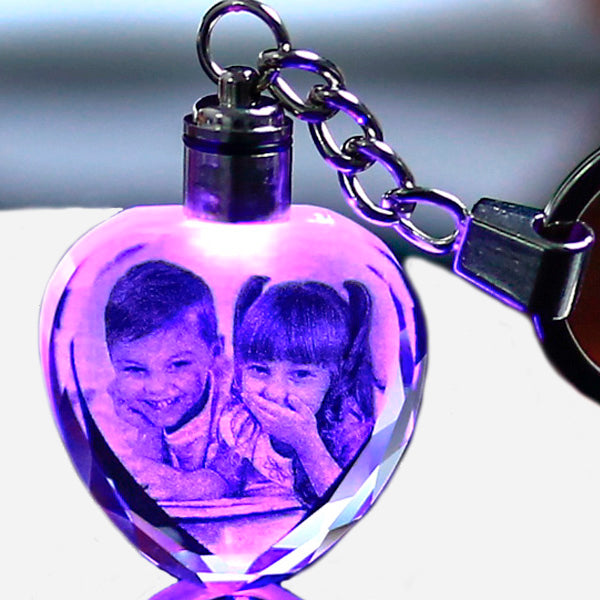 Custom Laser Engraved Crystal Keychain with LED light