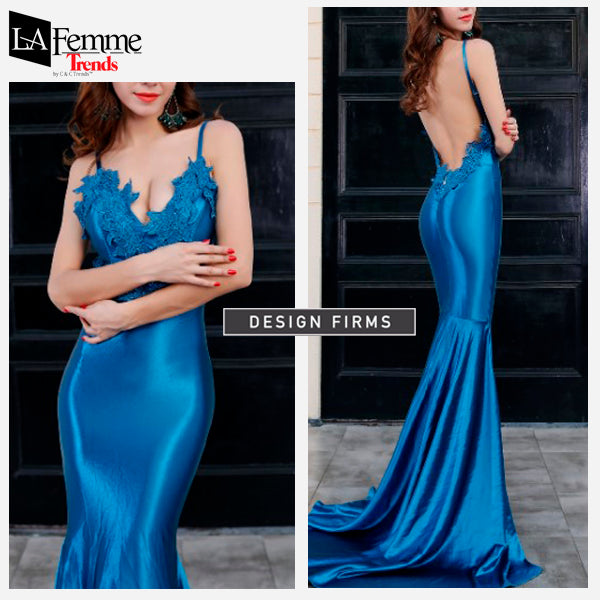 Electric Blue Satin Long Evening Gown 2