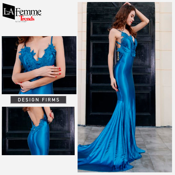 Electric Blue Satin Long Evening Gown 3