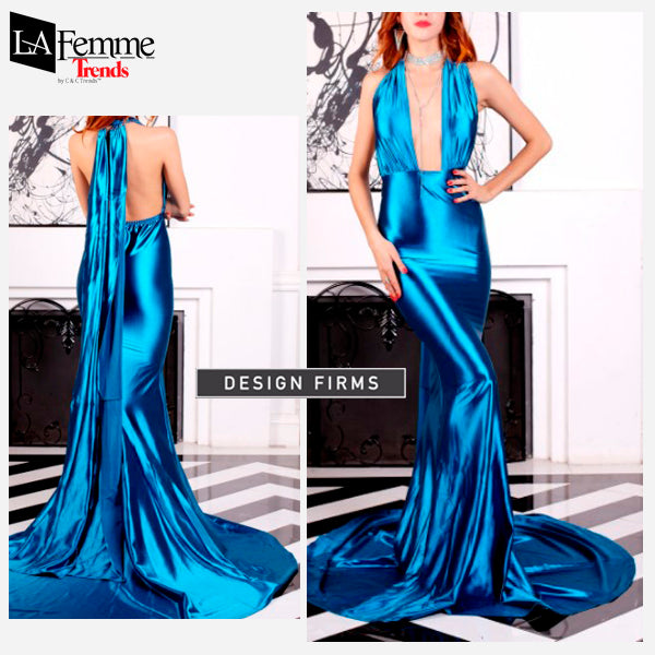 Electric Blue Satin Long Evening Gown 4