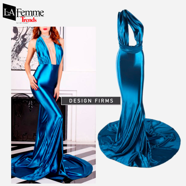 Electric Blue Satin Long Evening Gown 5