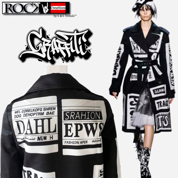 Fashion Graffiti Windbreaker Trench 1