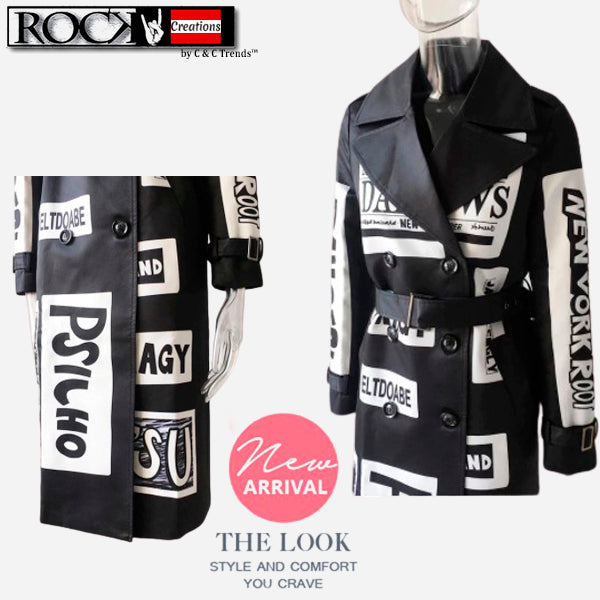 Fashion Graffiti Windbreaker Trench 3