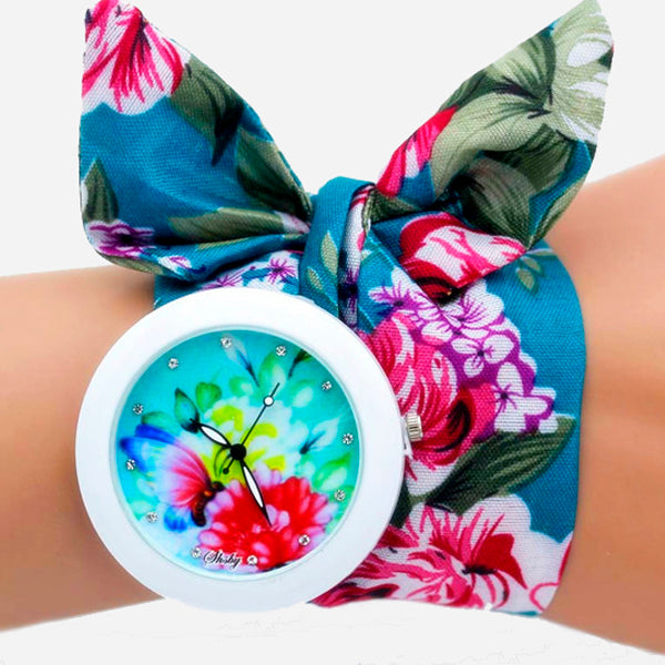 Fashion Flower Cloth Bracelet Watch