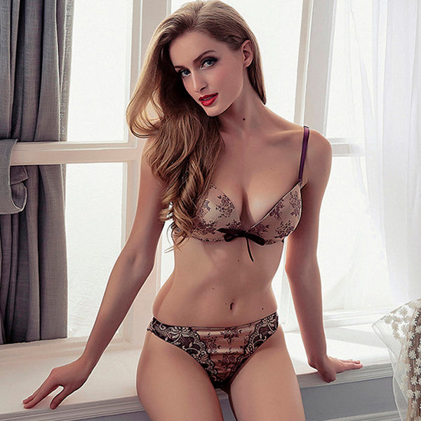 Fashion Flower Satin Embroidery Underwear Set 5