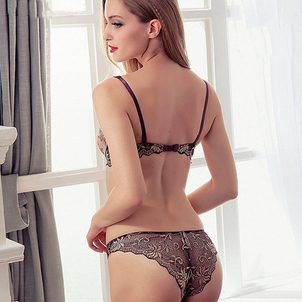 Fashion Flower Satin Embroidery Underwear Set