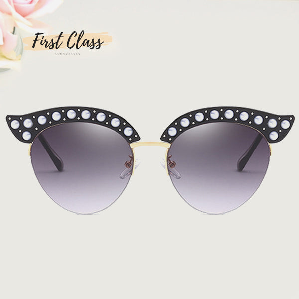 Faux-Pearl Oval Cat eye Sunglasses