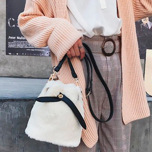 Faux Fur Warm Bucket Bag