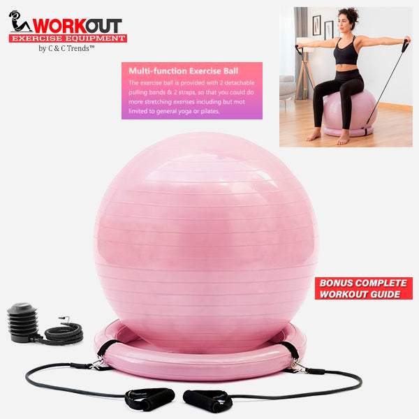 Fitness Balance Ball with Resistance Bands 1