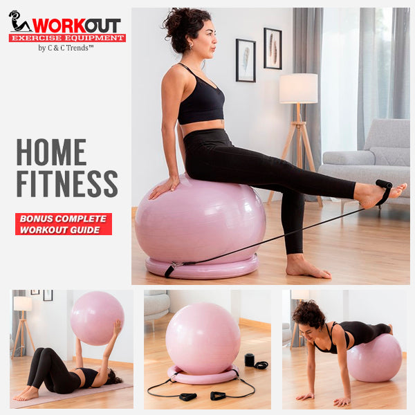 Fitness Balance Ball with Resistance Bands 3