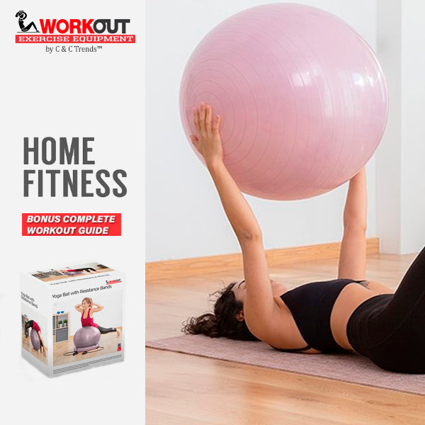 Fitness Balance Ball with Resistance Bands 4
