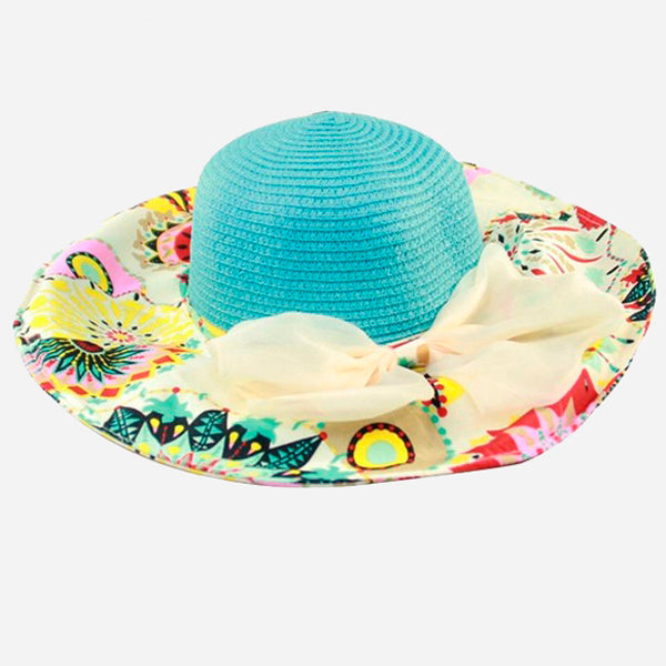 Flower Straw Wide Brim Hat