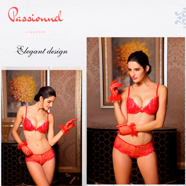 Gauze and Lace Transparent Temptation Thong-Bra Set