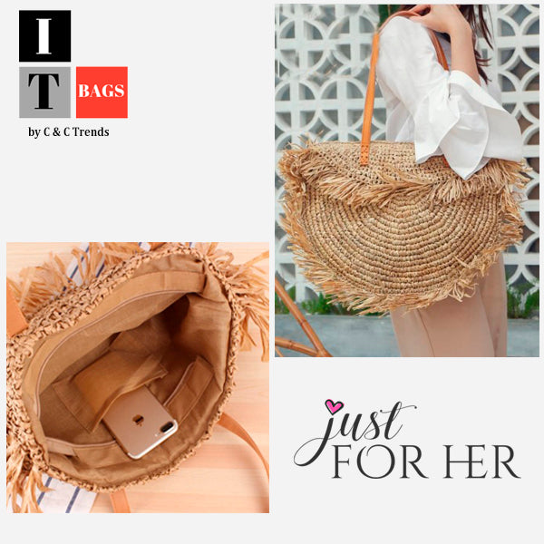 Half Moon Fringed Straw Shoulder Bag