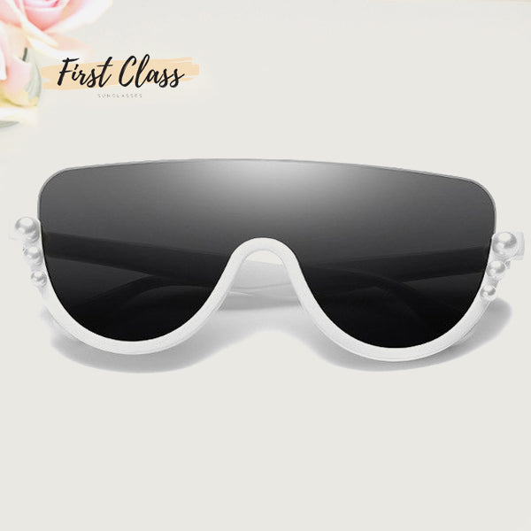 Half Rimless Oversized Pearls Sunglasses