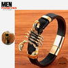 Leather Golden Hook Men Bracelet 4a