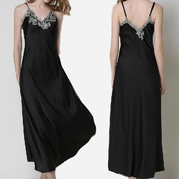 Long Satin Silk Nightgown