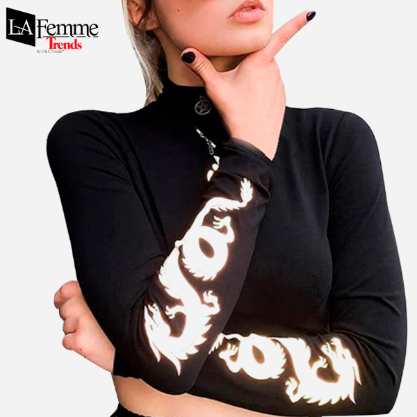Luminous Dragon Long Sleeve Kawaii Top 1