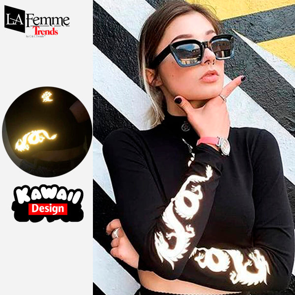 Luminous Dragon Long Sleeve Kawaii Top 2
