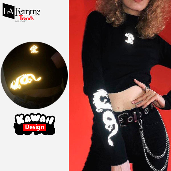 Luminous Dragon Long Sleeve Kawaii Top 4