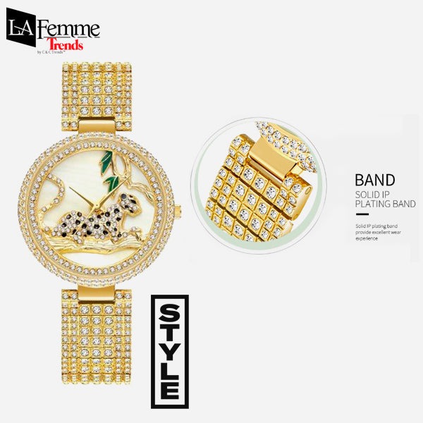 Luxury Rhinestone Leopard Woman Watch 2a