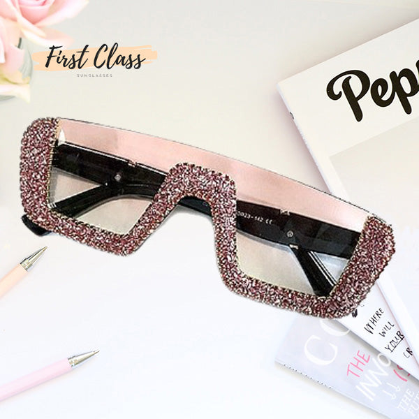 Luxury Half-Frame Rhinestone Sunglasses