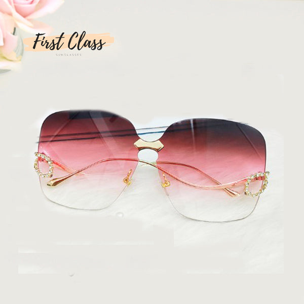 Luxury Rhinestone Square Rimless Sunglasses