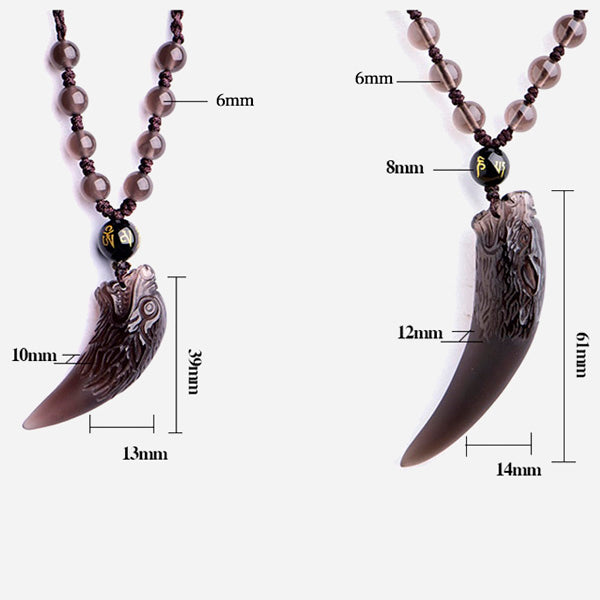 Natural Obsidian Wolf Tooth Talisman Pendant