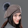 Natural Raccoon Fox Fur Pompom Wool Beret