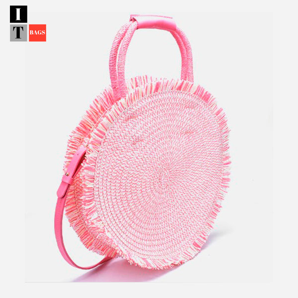 New Fringed Round Braided Basket Bag