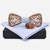 Openwork Wooden Bow Tie Set