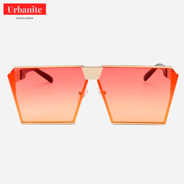 Oversized Reflective Flat Top Square Sunglasses