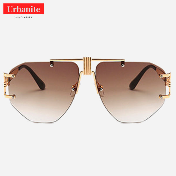 Oversized Rimless Trident Sunglasses
