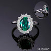 Princess Diana Emerald Silver Ring