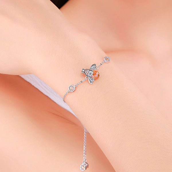 Queen Bee Sterling Silver Link Bracelet