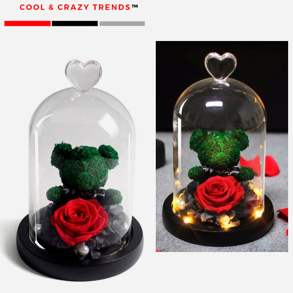 Romantic Teddy Bear & Eternal Rose in Glass Dome