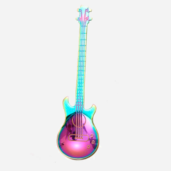 Stainless Steel Rainbow Coffee Spoons Shaped Guitar