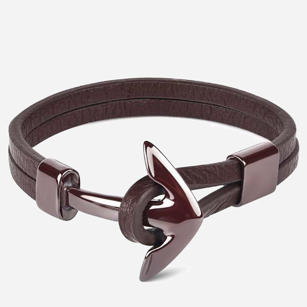 Titanium Steel Anchor Leather Bracelets