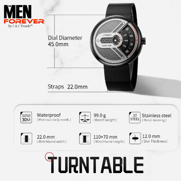 Turntable Stainless Steel Futuristic Watch 4
